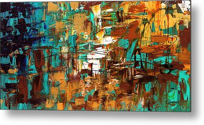 Metal Print featuring the painting Turquoise Scent by Carmen Guedez