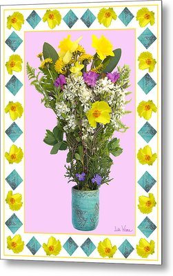 Metal Print featuring the digital art Turquoise Vase With Spring Bouquet by Lise Winne