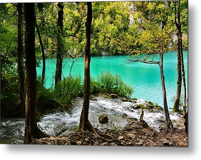 Turquoise Waters Of Milanovac Lake Metal Print by Two Small Potatoes