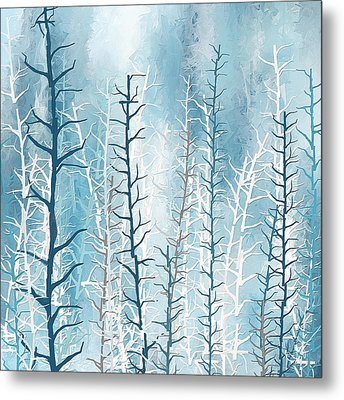 Turquoise Winter Metal Print by Lourry Legarde