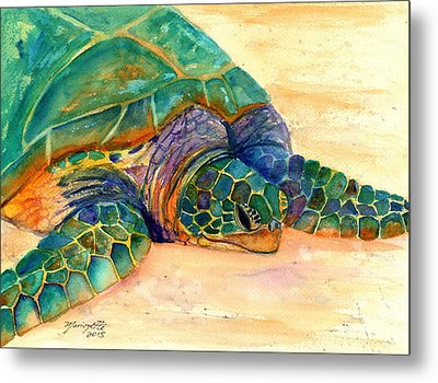 Metal Print featuring the painting Turtle At Poipu Beach 7 by Marionette Taboniar