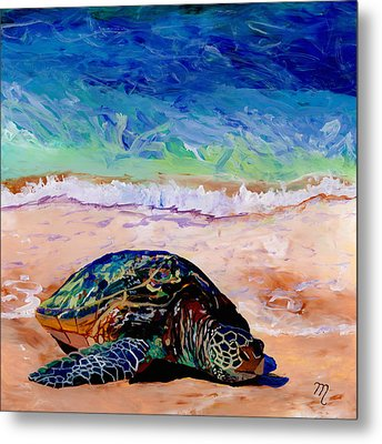 Metal Print featuring the painting Turtle At Poipu Beach 9 by Marionette Taboniar
