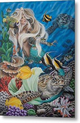 Turtle Mermaid Metal Print