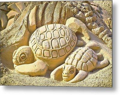 Turtle Sand Castle Sculpture On The Beach 999 Metal Print