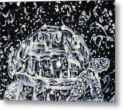 Metal Print featuring the painting Turtle Walking Under A Starry Sky by Fabrizio Cassetta