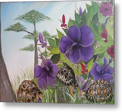 Turtles Eating Hibiscus Metal Print by Judit Szalanczi