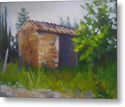 Metal Print featuring the painting Tuscan Abandoned Farm Shed by Chris Hobel