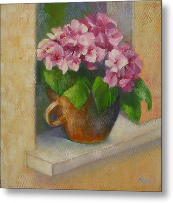Metal Print featuring the painting Tuscan Flower Pot Oil Painting by Chris Hobel