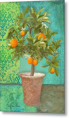 Tuscan Orange Topiary - Damask Pattern 2 Metal Print