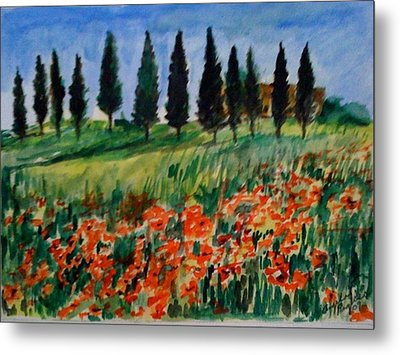 Tuscan Poppies With Poplar Trees Metal Print by Angela Puglisi