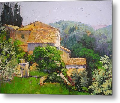 Metal Print featuring the painting Tuscan Village by Chris Hobel