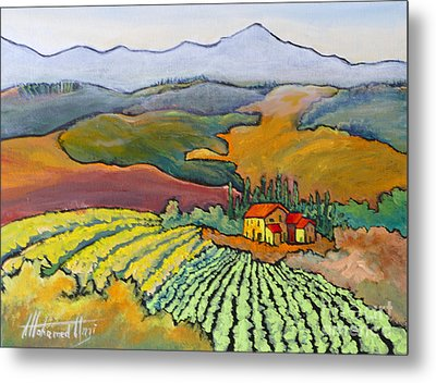 Tuscan Vineyard Metal Print by Mohamed Hirji