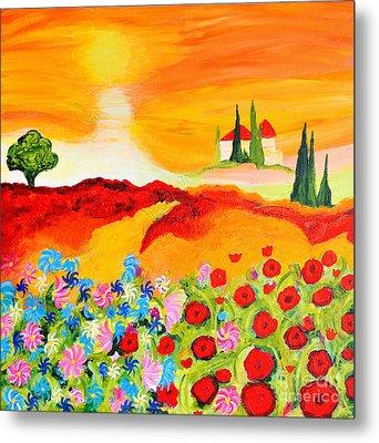 Tuscan Wildflowers Metal Print