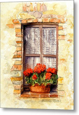 Metal Print featuring the painting Tuscan Window by Bonnie Rinier