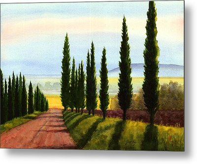 Tuscany Cypress Trees Metal Print by Janet King
