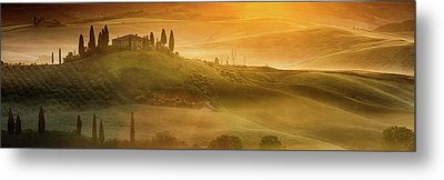 Tuscany In Golden Metal Print by Evgeni Dinev