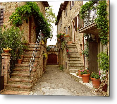 Tuscany Stairways Metal Print by Donna Corless