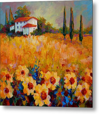 Tuscany Sunflowers Metal Print by Marion Rose