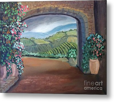 Tuscany Vineyards Through The Archway Metal Print