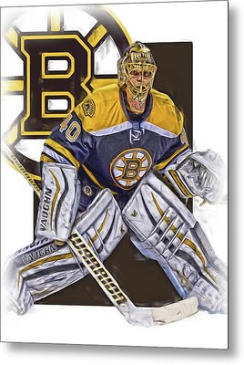 Tuukka Rask Boston Bruins Oil Art 1 Metal Print by Joe Hamilton