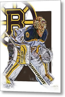 Tuukka Rask Boston Bruins Oil Art 3 Metal Print by Joe Hamilton