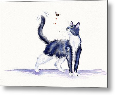 Tuxedo Cat And Bumble Bee Metal Print by Debra Hall