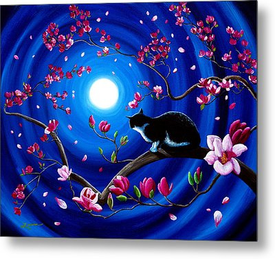 Tuxedo Cat In A Japanese Magnolia Tree Metal Print by Laura Iverson