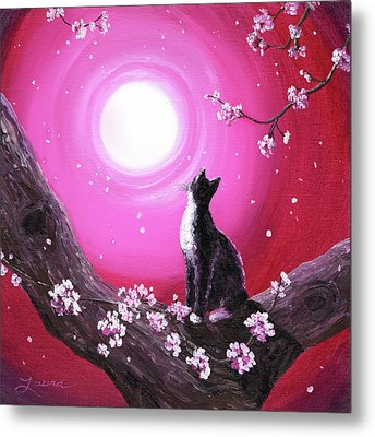 Tuxedo Cat In Cherry Blossoms Metal Print by Laura Iverson