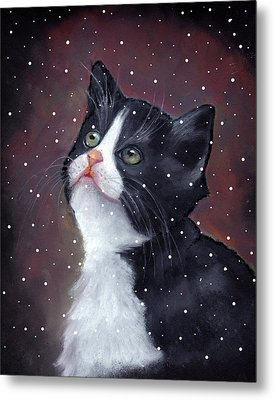 Tuxedo Cat With Snowflakes Metal Print by Joyce Geleynse