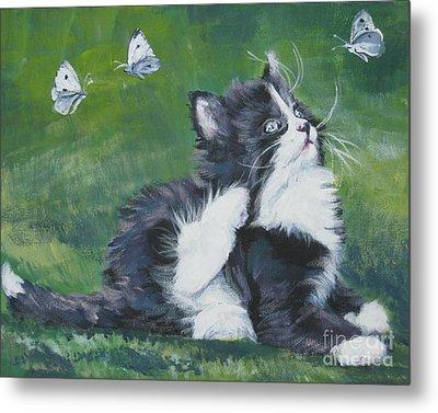 Tuxedo Kitten Metal Print by Lee Ann Shepard
