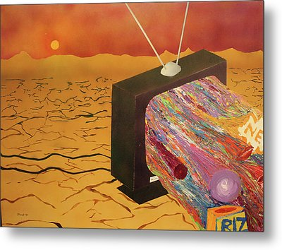 Metal Print featuring the painting Tv Wasteland by Thomas Blood