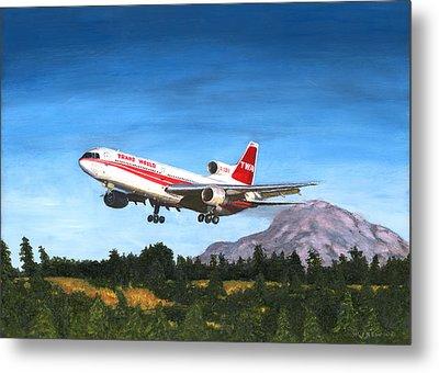 Twa L1011 Landing At Seattle Metal Print