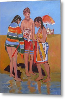 Metal Print featuring the painting Tweens At The Beach by Betty Pieper