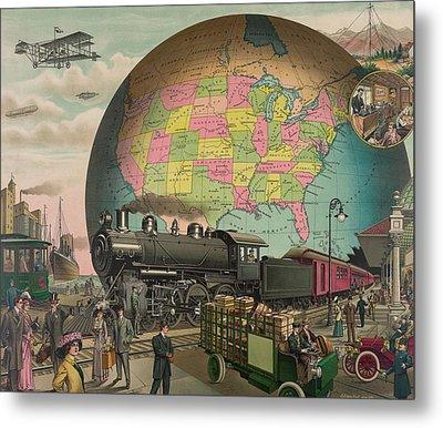Twentieth Century Transportation. 1910 Metal Print by Everett