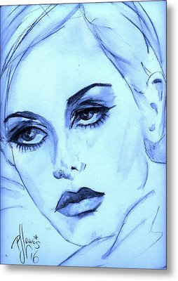 Metal Print featuring the painting Twiggy In Blue by P J Lewis