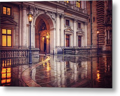 Twilight At Hamburg Town Hall Courtyard  Metal Print