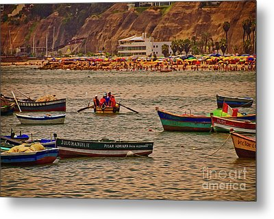 Metal Print featuring the photograph Twilight At The Beach, Miraflores, Peru by Mary Machare