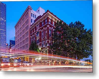 Twilight Blue Hour Shot Of The Cotton Exchange Building In Downtown Houston - Harris County Texas  Metal Print