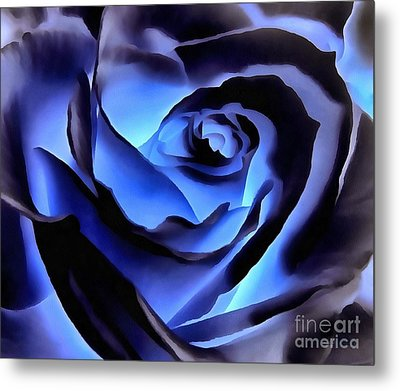Twilight Blue Rose  Metal Print by Janine Riley
