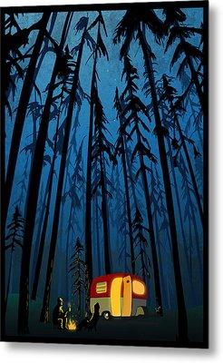 Twilight Camping Metal Print by Sassan Filsoof