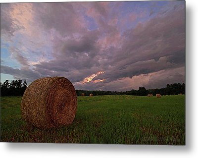 Twilight Hay Bale Metal Print