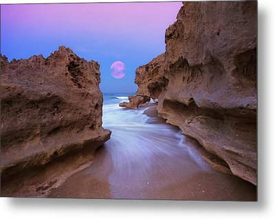 Twilight Moon Rising Over Hutchinson Island Beach Rocks Metal Print