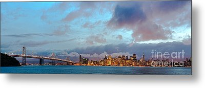 Twilight Panorama Of San Francisco Skyline And Bay Area Bridge From Treasure Island - California Metal Print