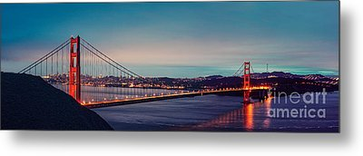 Twilight Panorama Of The Golden Gate Bridge From The Marin Headlands - San Francisco California Metal Print