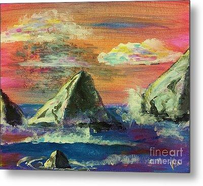 Twilight Sea Rocks Metal Print