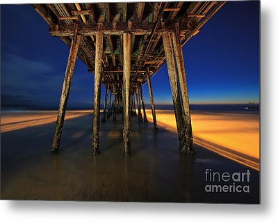Twilight Under The Imperial Beach Pier San Diego California Metal Print