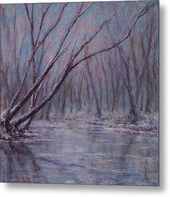 Twin Creek Winter Metal Print by Erica Keener