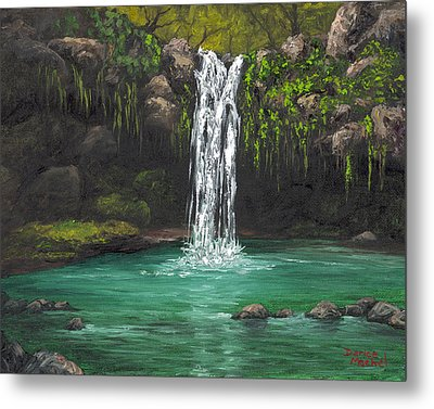Metal Print featuring the painting Twin Falls 2 by Darice Machel McGuire