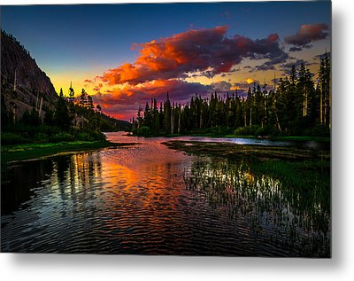 Twin Lakes Sunset Mammoth Lakes California Metal Print