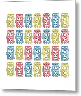 Twin Lens Camera Pattern Metal Print